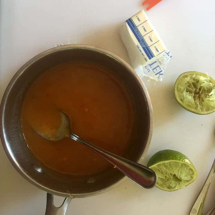 Thickened tequila lime chicken sauce before it has been tossed with the chicken wings.