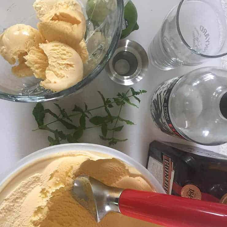 Scooping Ice Cream and putting in blender for mojitarita.