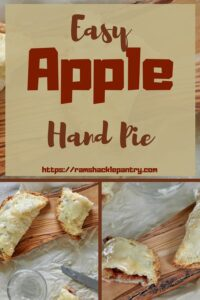 """""""Easy Apple Hand Pie"""" with a collage of pictures of our apple hand pies in the background"""