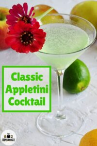 Classic Appletini Cocktail in a traditional cocktail glass.