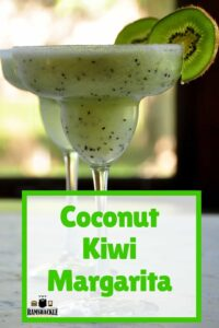 Coconut Kiwi Margarita with two glasses filled with the frozen cocktail and garnished with kiwi slices.