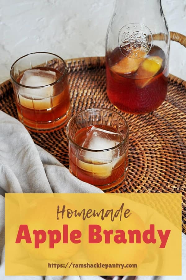 Homemade Apple Brandy! Apples, Autumn, and brandy are a trio that go perfectly together. This easy DIY apple cocktail recipe is a perfect way to warm up this Fall.#ramshacklepantry #applebrandy #apple #brandy #apples #cocktails #cocktail #fall