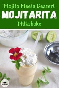 Mojito Meets Dessert - Mojitarita Milkshake - a singular drink in a pint glass garnished with a red flower