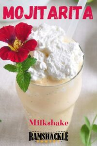 """Mojitarita Milkshake"" with a close up of the shake with a flower as garnish"