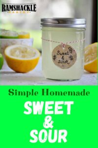 """Simple Homemade Sweet & Sour"" and a mason jar full of the recipe with a squeezed lemon half right next to it."