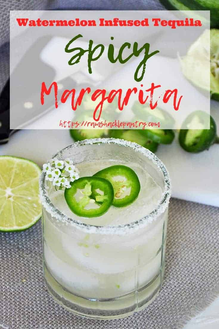 A margarita recipe with a tasty kick. This Watermelon Infused Tequila Spicy Margarita tastes great and is the kind of tequila recipe that will wow your friends. Give this drink recipe a try! #watermelon #tequila #lime #margarita