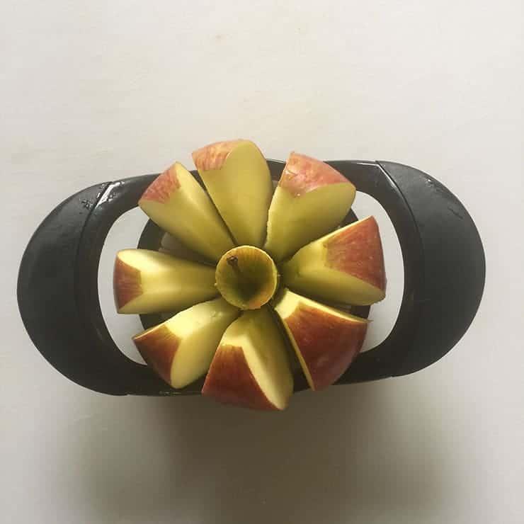 Apple Corer cutting Braeburn apple