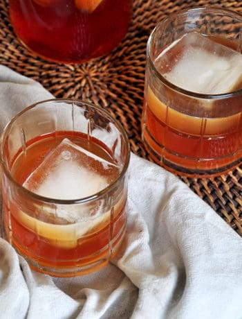 Apple Brandy Recipe on a platter with a with a white cloth underneat