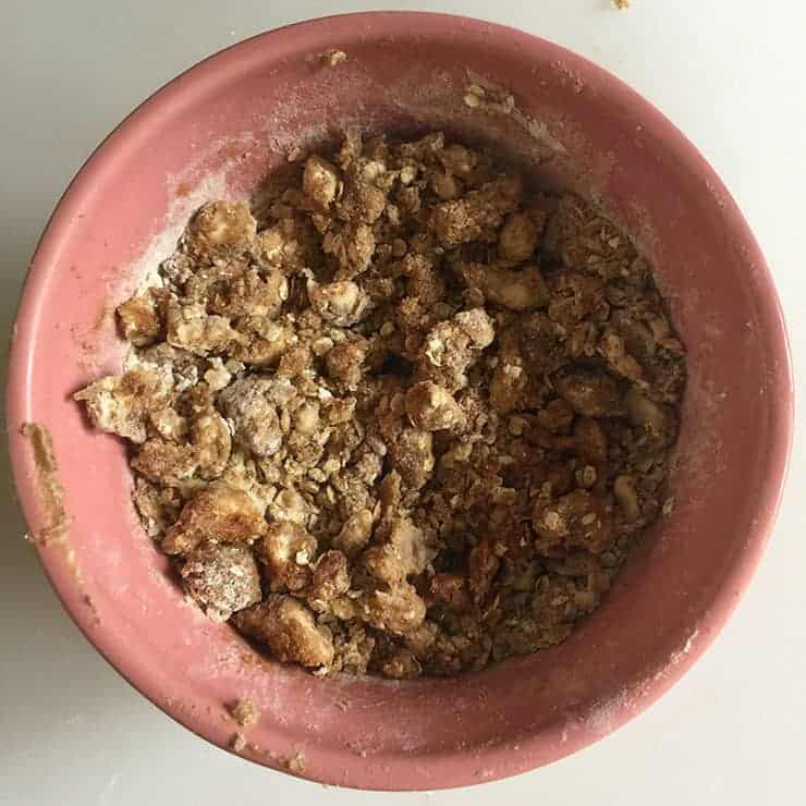 Apple Crisp Recipe topping before it is spread on actual dish