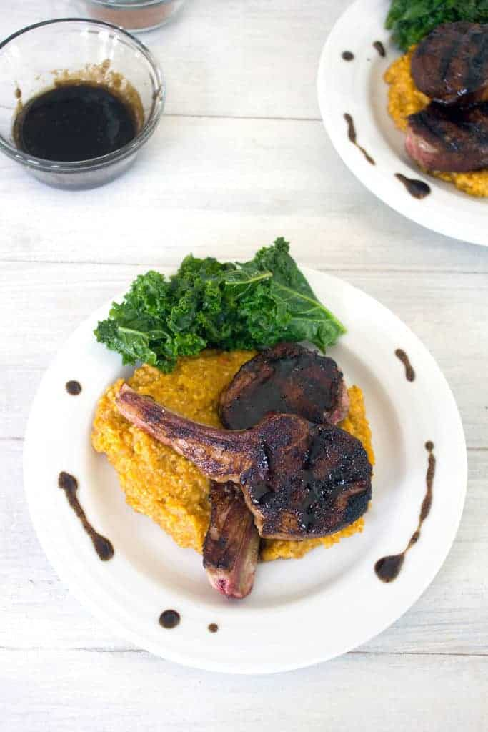 Coffee rubbed lamb chops with pumpkin cinnamon polenta