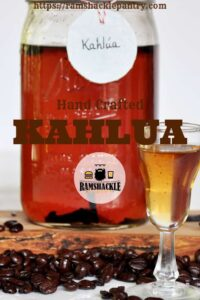 """Hand Crafted Kahlua"" with a serving of the coffee liqueur in the background"