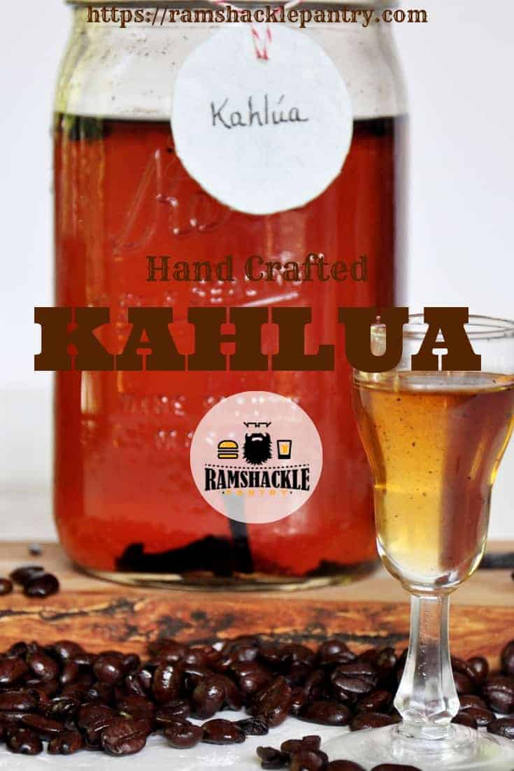 This homemade coffee liqueur is simple to make, tasty as heck, and can save you a lot of money. The Best Part is that it tastes so awesome. #ramshacklepantry #kahlua #coffee #diy #drinks