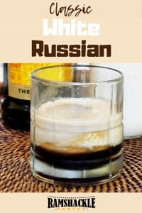 """""""Classic White Russian"""" with a picture of a white russian cocktail"""
