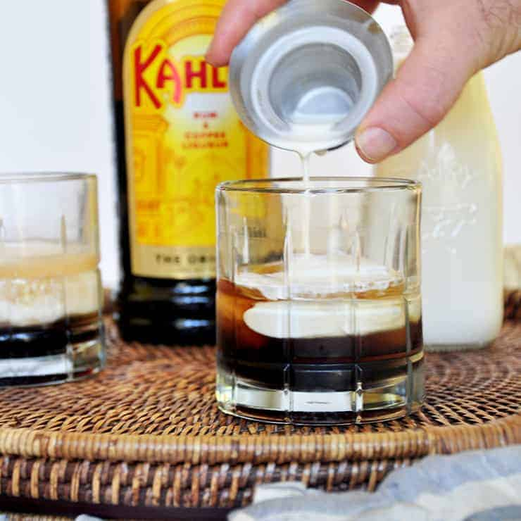 Pouring Cream into Vodka and Kahlua