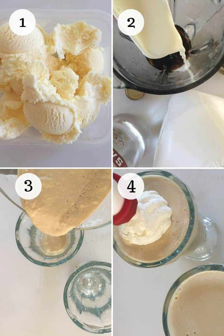 White Russian Alcoholic Milkshake Process pictures 1-4