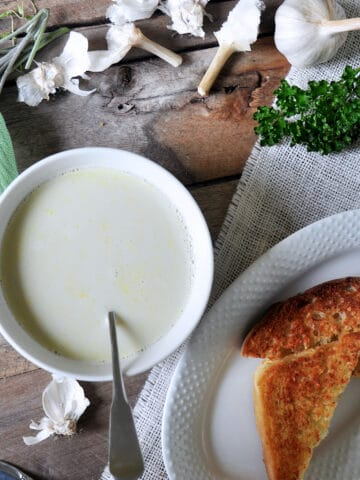 Garlic Soup in a white bowl on a picnic table. On the side, there is a serving of cheesy toast and several fresh herbs for display.
