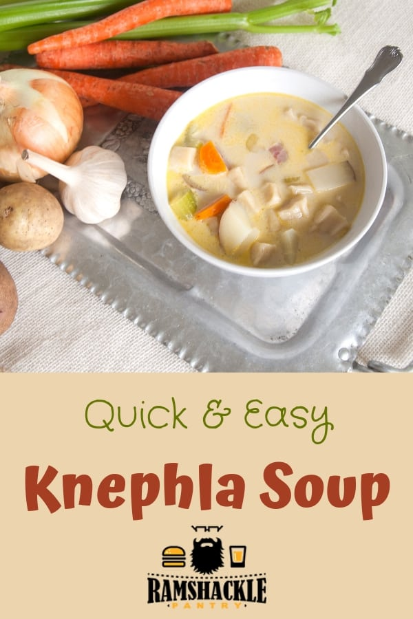 Upper Midwest comfort food straight from German heritage. This Quick and Easy Knephla Soup is so delicious and worth a try! #ramshacklepantry #knephla #german #soup #dumplings