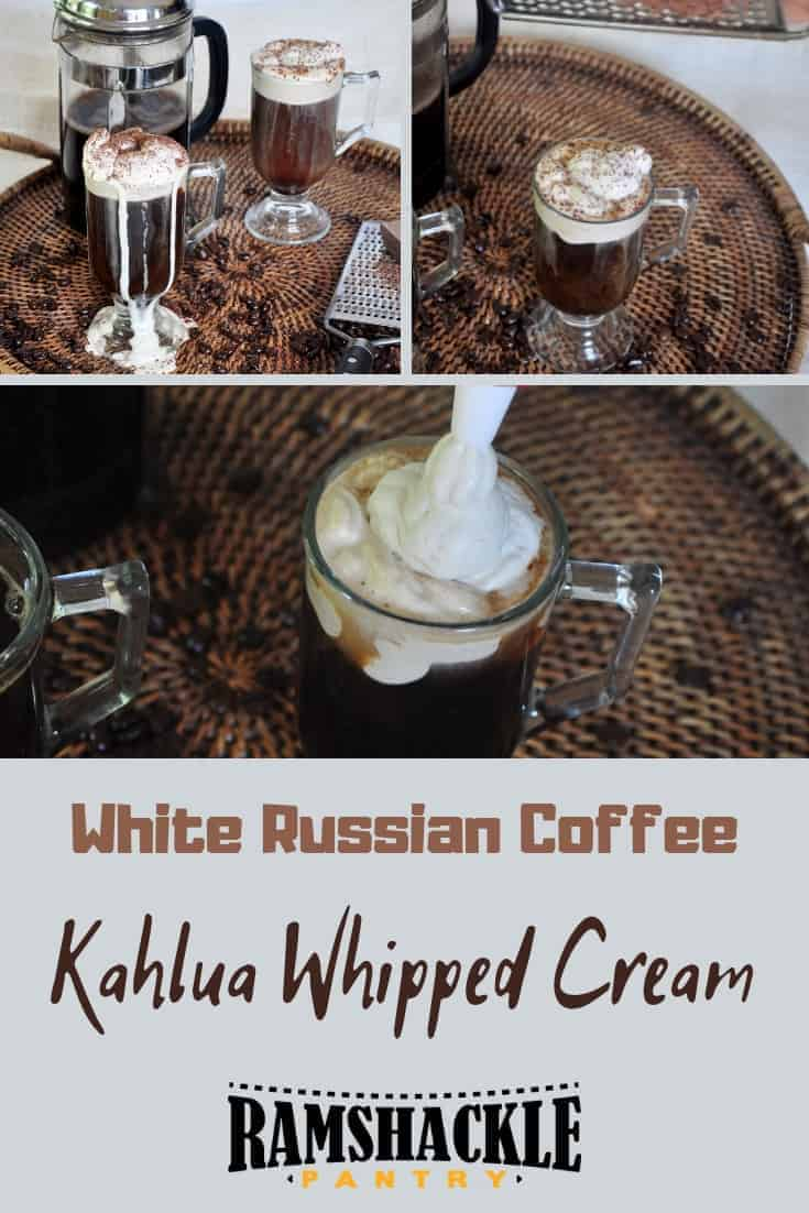 A Russian Coffee with Kahlua Whipped Cream is a tasty adult hot beverage that puts a nice spin on a normal cup of jo. Get your whisk out to make some tasty whipped cream and this beautiful beverage. #ramshacklepantry #coffee #kahlua #cocktail #drink