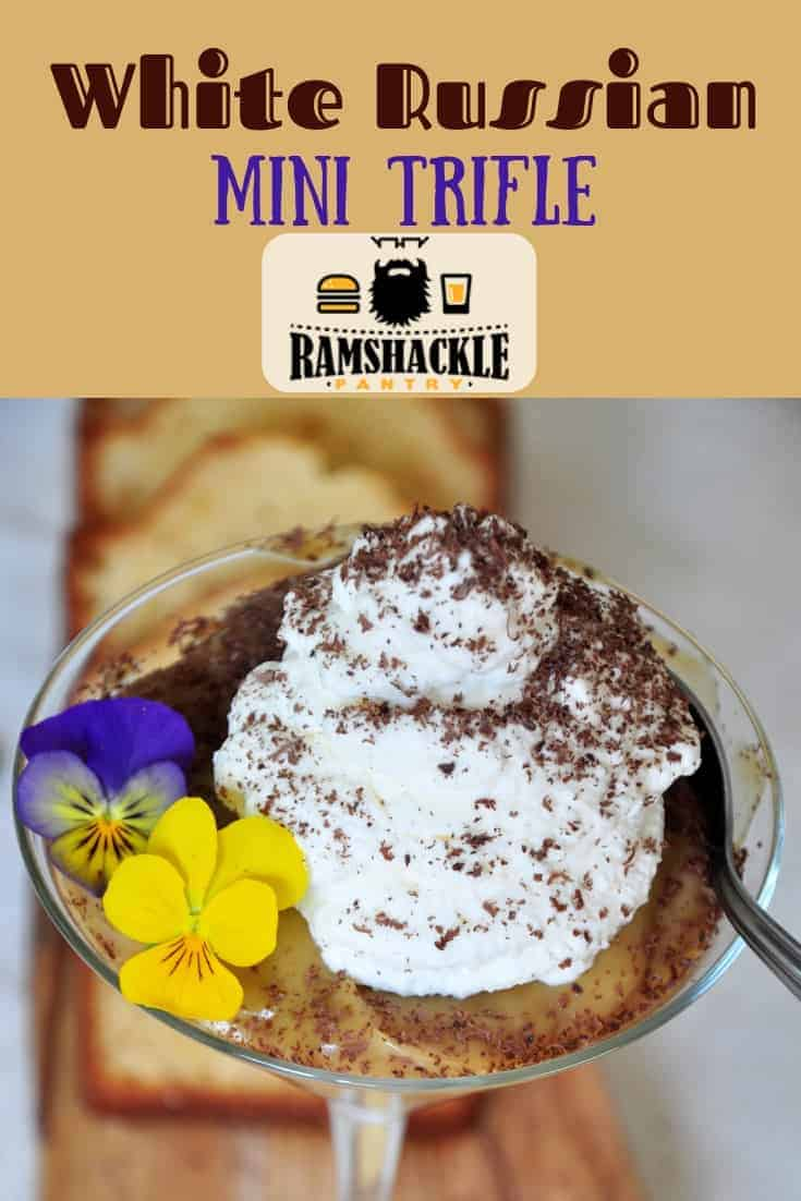 Let's mash up trifle desserts and a White Russian cocktail! These White Russian Mini Trifles are great boozy adult desserts with the spirit of the classic cocktail! #ramshacklepantry #trifle #dessert #kahlua #vodka