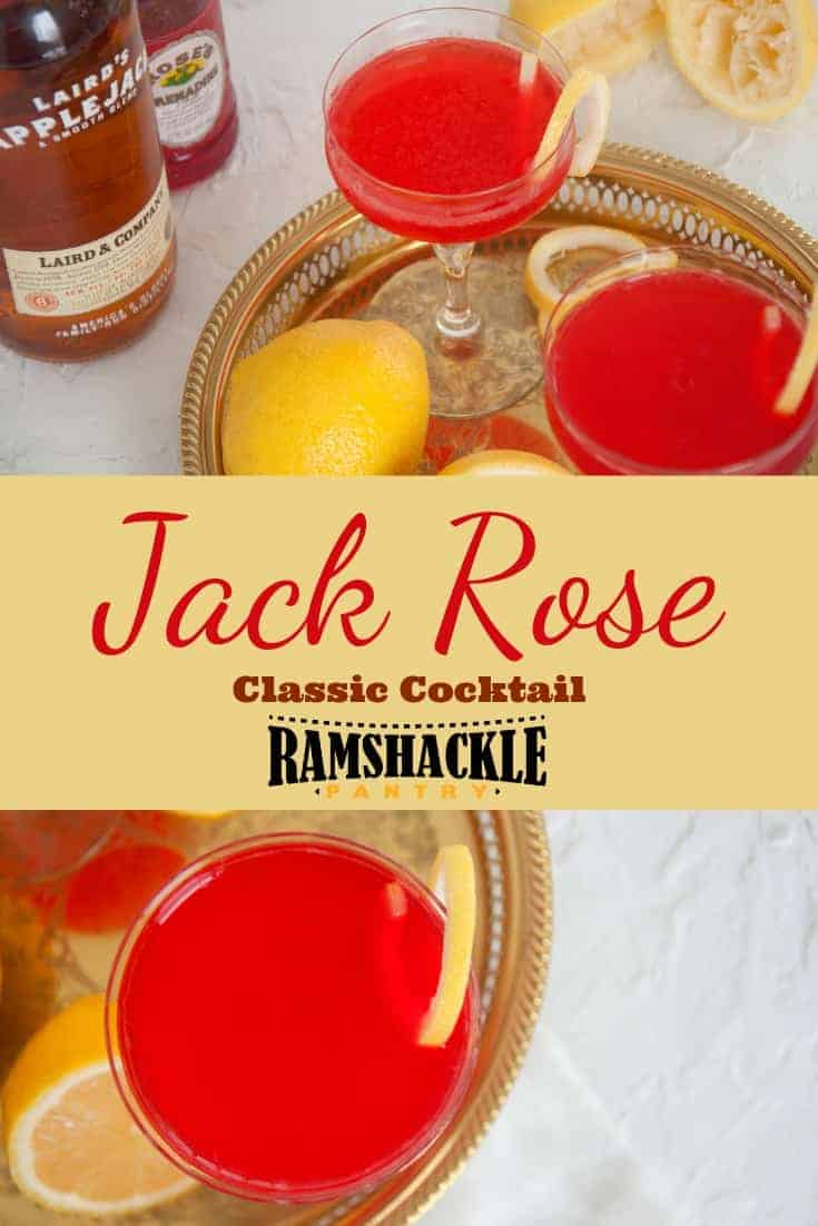 The Jack Rose Cocktail is a classic drink and can even be found in legendary Ernest Hemingway's novel, The Sun Also Rises. So, drink with me and Hemingway by sipping on this tasty cocktail with origins in years past. #ramshacklepantry #applejack #apple #cocktail #grenadine