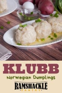 """Klubb Norwegian Dumplings"" with a picture of the dumplings"