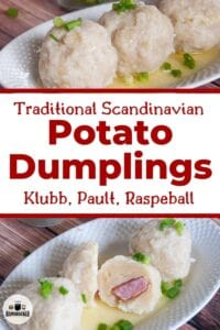 Klubb Scandinavian Potato Dumplings with one of them cut in half.