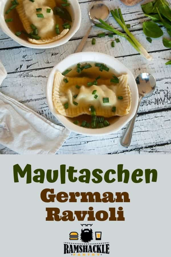 This Maultaschen recipe is one to try out. These little German Ravioli are packed with flavor and are a traditional treat from the Swabian region of Germany. #ramshacklepantry #german #pasta #traditional #ravioli