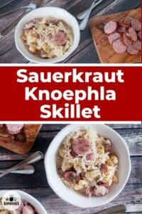 Sauerkraut Knoephla Skillet in two bowls with some sausage on the side.