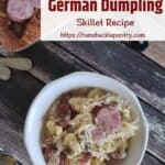 Overhead picture of Sauerkraut and Sausage German Dumpling Skillet Dish.