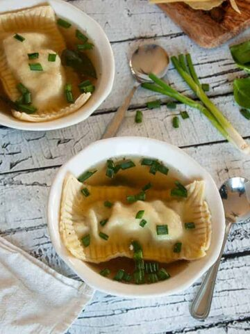 Maultaschen in two bowls of soup