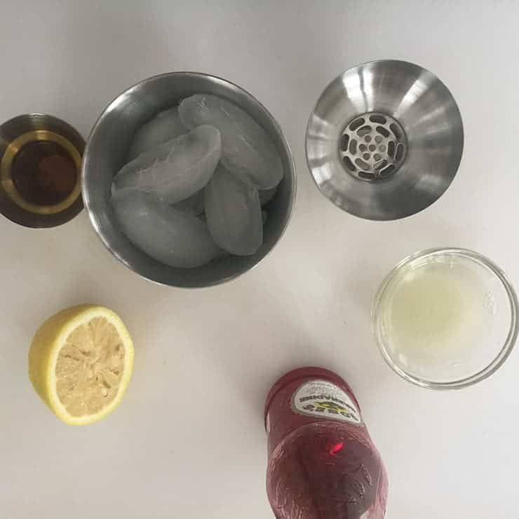 All Jack Rose ingredients on a table