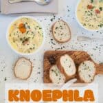 """""""Knoephla Soup"""" with two bowls of the soup and bread in the background"""