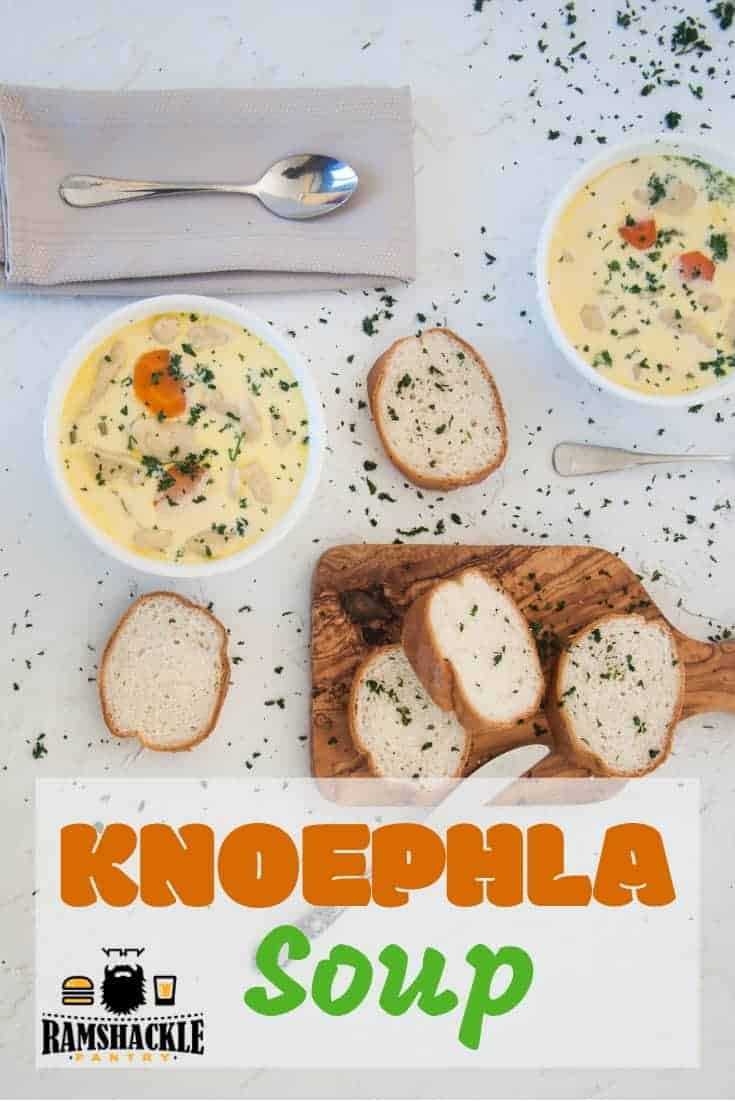 This Knoephla Soup recipe is midwest comfort food at its finest. Dumpling dreams and potato pleasure in one creamy, delicious bowl of German soup. #ramshacklepantry #dumplings #soup #potato #german