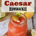 """""""Bloody Caesar: with an image of the cocktail on a wood platter"""