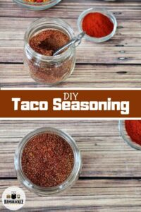 DIY Taco Seasoning and two containers of the seasoning.