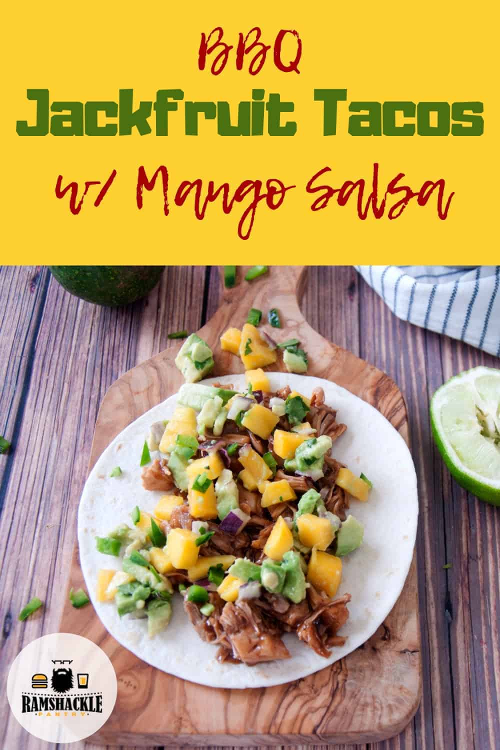 Tastiest BBQ Jackfruit Tacos and this Mango Salsa tops it off perfectly! This really is a great vegetarian meal and really is so easy to make! #ramshacklepantry #meatlessmonday #vegetarian #jackfruit