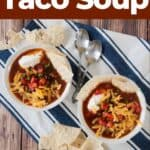 """Easy and Quick Taco Soup"" and two bowls of the Mexican soup on a blue and white tablecloth and tortilla chips to the side."