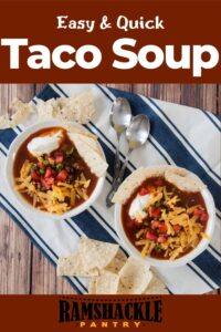 """""""Easy and Quick Taco Soup"""" and two bowls of the Mexican soup on a blue and white tablecloth and tortilla chips to the side."""