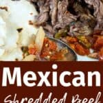 """Mexican Shredded Beef"" with a closeup shot of beef, tortillas, and vegetables"