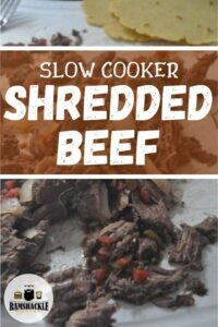 Slow Cooker Shredded Beef with a bunch of beef on a table