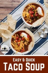 Two bowls of Easy and Quick Taco Soup on a blue and white cloth.