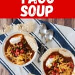 Easy Weeknight Taco Soup with two bowls of taco soup on a white and blue napkin