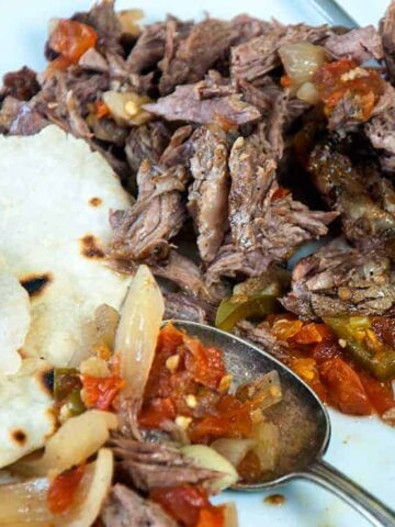 Shredded beef on a cutting board with some of the fixings and flour tortilla on the side
