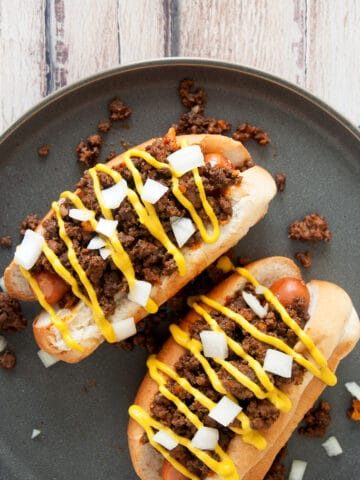 Overhead picture of Detroit Dog and Homemade Coney Sauce