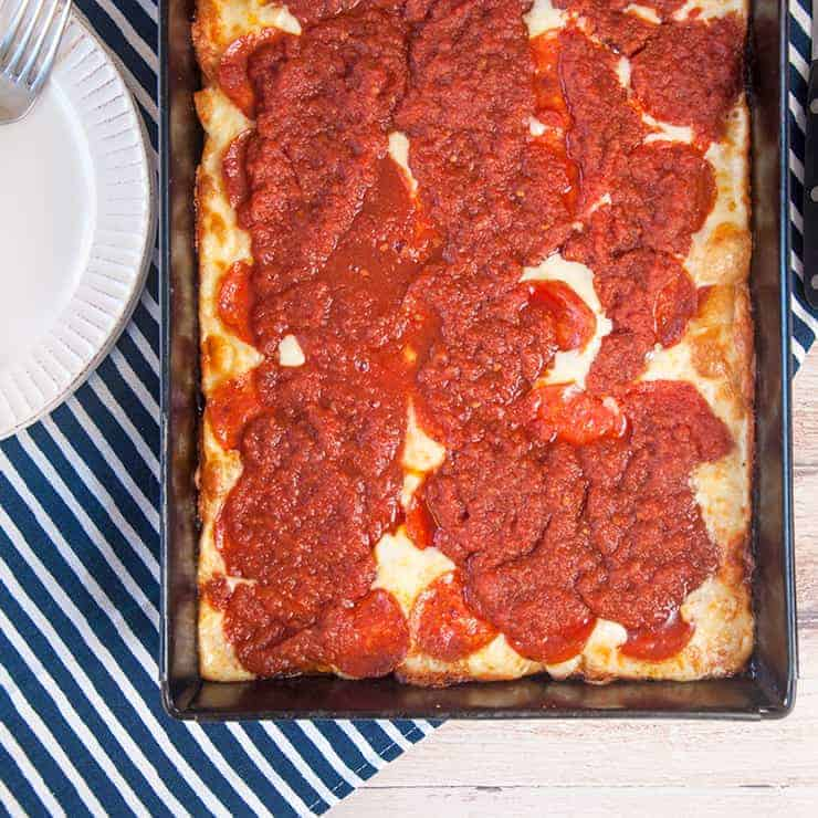 Overhead picture of a full pan of Detroit Style Pizza