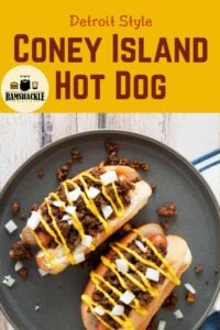 """""""Detroit Style Coney Island Hot Dog"""" with an overhead picture of the hot dog"""