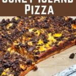 """""""Detroit Style Coney Island Pizza"""" with the whole rectangle pizza showing below"""