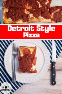 """""""Detroit Style Pizza"""" with a single slice on a plate next to a full pan"""