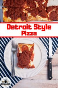 Detroit Style Pizza on a white plate with a full pan on the top of the image.