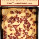Detroit Style Rueben Pizza and an overhead view of the pizza with all of it's toppings.